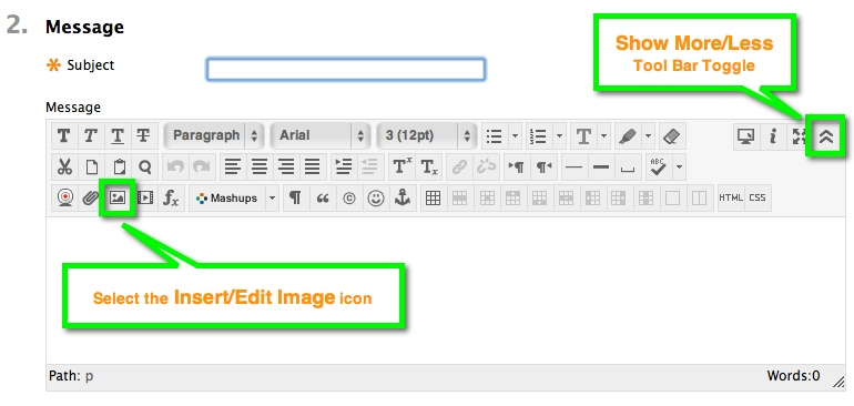 Insert/Edit Image and Tool Bar Toggle