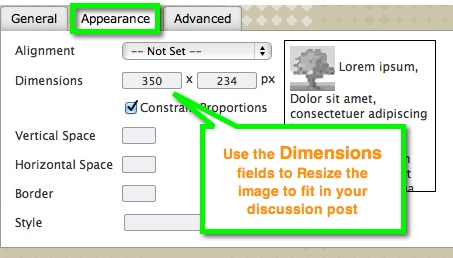 Appearance tab and Dimensions
