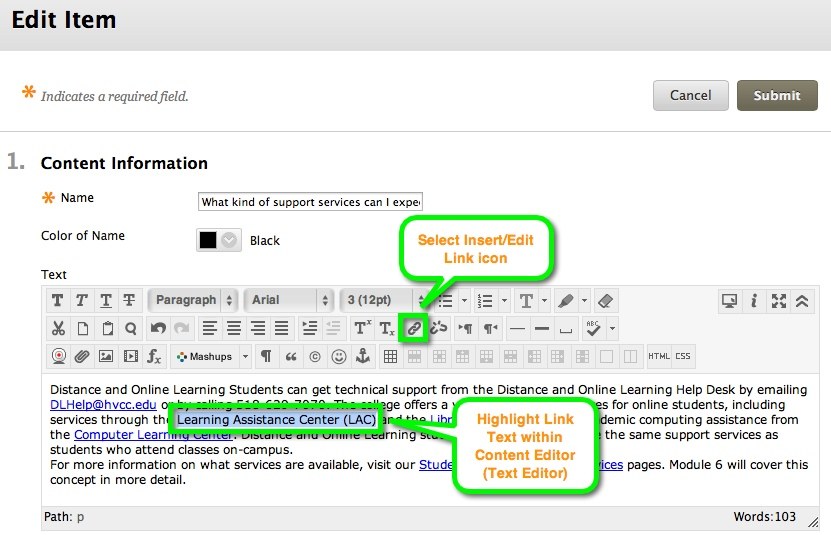 Content Editor Insert/Edit Link icon
