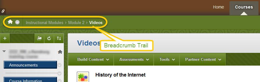 breadcrumb navigation trail