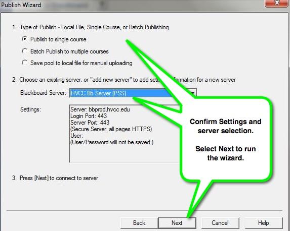 Respondus - confirm publish settings