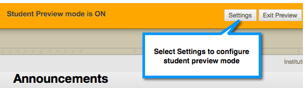 Student Preview Mode Settings