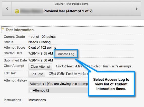 Tests Access Log button