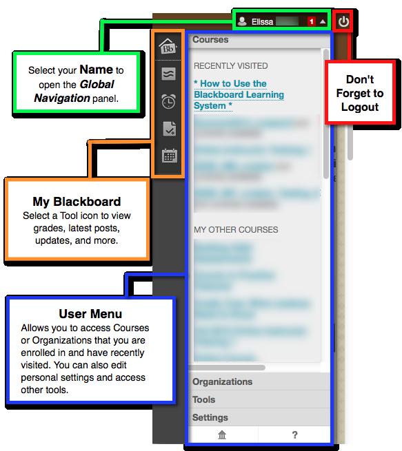 Student Global Navigation & My Blackboard