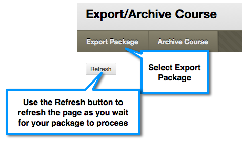 Export Package button