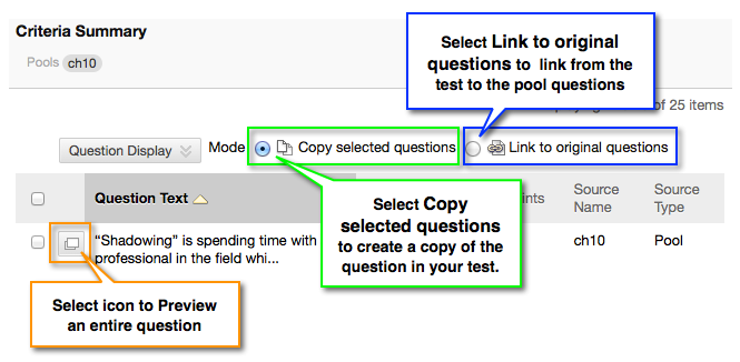 Copy or Link to Questions and Question Preview