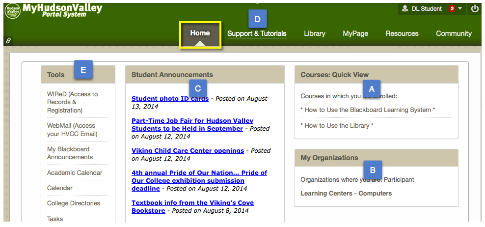 Home tab - Access Courses, Organizations, College Announcements, Tools and more