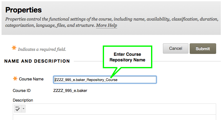 Renaming Z area Course for Repository Course