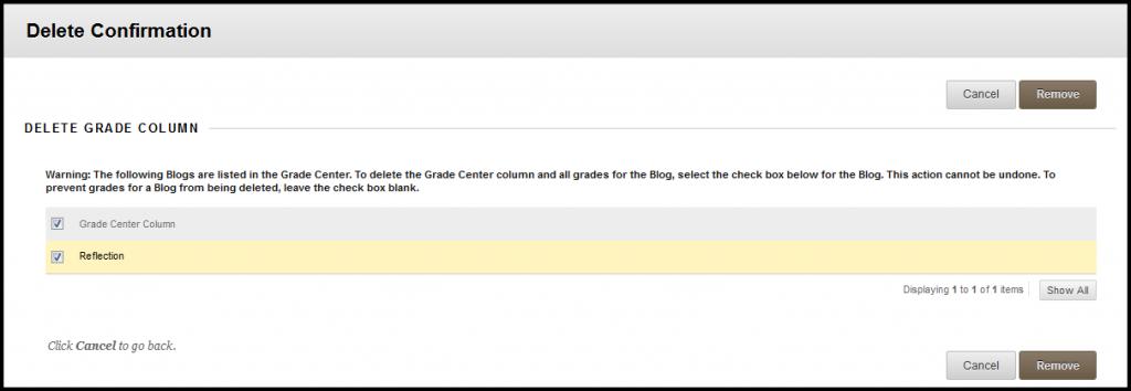 delete grade center column